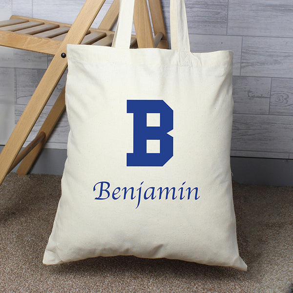 Personalised Blue Initial Cotton Bag