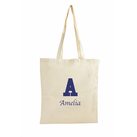 Buy Personalised Blue Initial Cotton Bag
