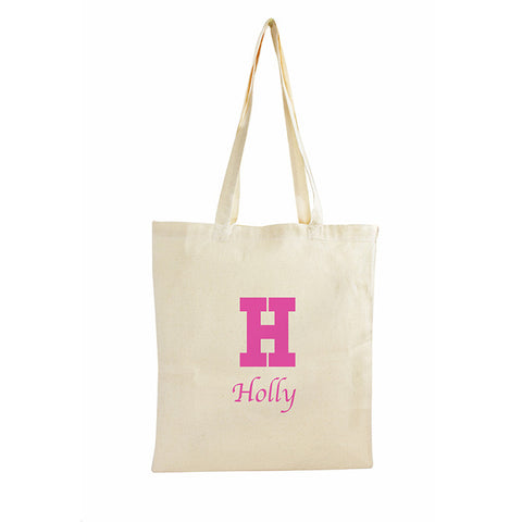 Buy Personalised Pink Initial Cotton Bag