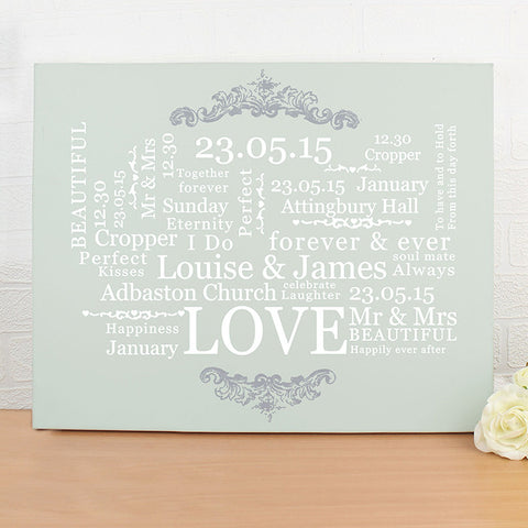 Personalised Wedding Typographic Art Canvas - Shane Todd Gifts UK