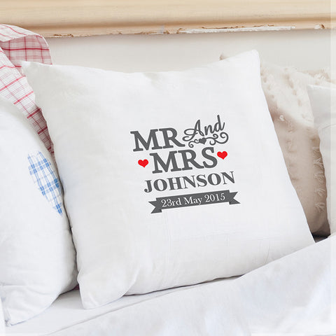 Buy Personalised Mr & Mrs Cushion Cover
