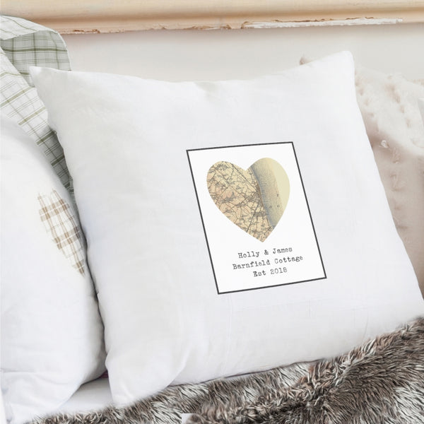 Buy Personalised 1896 - 1904 Revised New Map Heart Cushion Cover