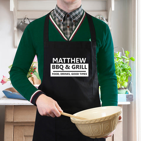 Personalised BBQ & Grill Black Apron | ShaneToddGifts.co.uk