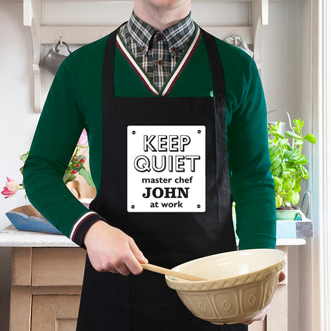 Personalised Keep Quiet Black Apron | ShaneToddGifts.co.uk