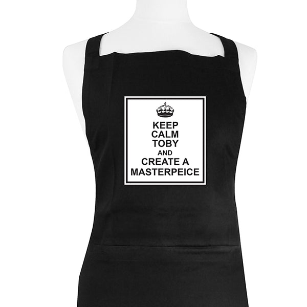 personalised-keep-calm-black-apron