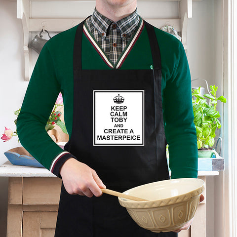 Personalised Keep Calm Black Apron | ShaneToddGifts.co.uk