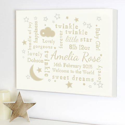 Buy Personalised Twinkle Twinkle Typography Landscape Canvas