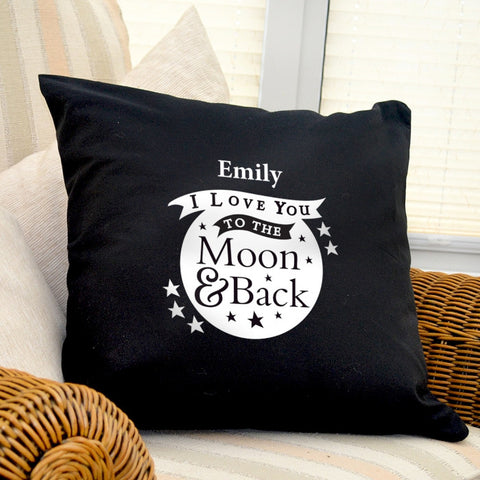 Buy Personalised To the Moon and Back...Black Cushion Cover