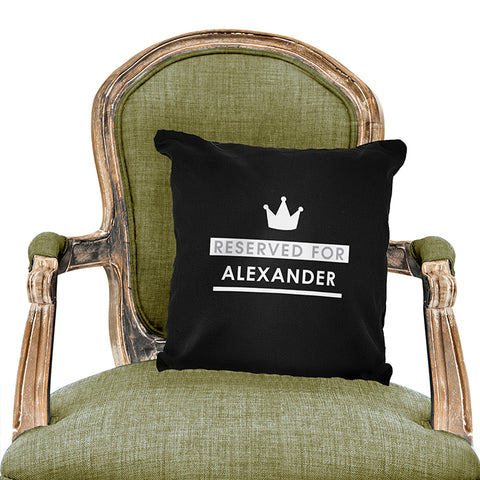 Buy Personalised Reserved For Black Cushion Cover