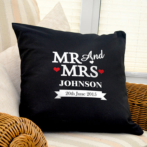 Buy Personalised Mr & Mrs Black Cushion Cover