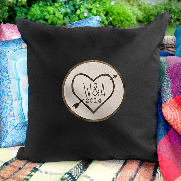 Personalised Wood Carving Black Cushion Cover