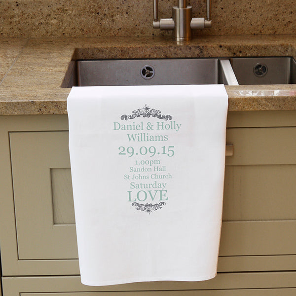 Personalised Wedding Typography White Tea Towel