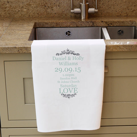 Buy Personalised Wedding Typography White Tea Towel