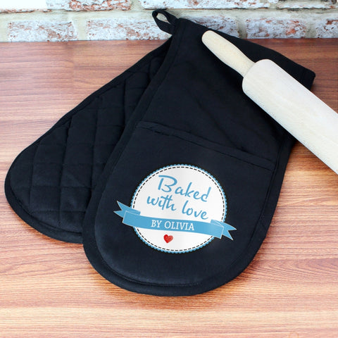 Personalised Baked With Love Oven Glove | ShaneToddGifts.co.uk