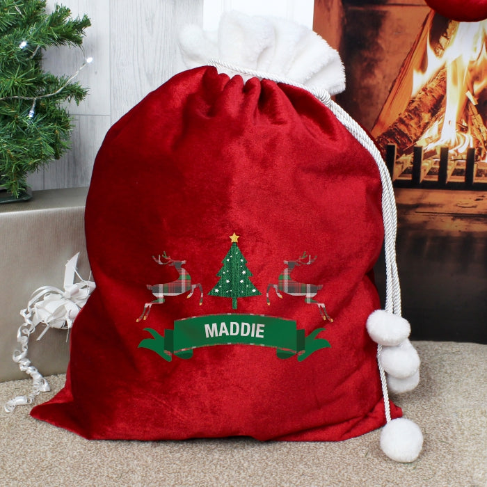 Personalised Nordic Christmas Luxury Pom Pom Sack, Party Supplies by Low Cost Gifts