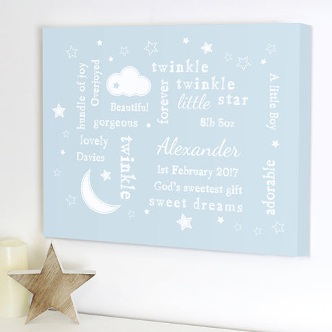 Buy Personalised Twinkle Twinkle Typography Blue Canvas