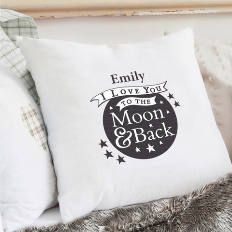 Buy Personalised To the Moon and Back...Cream Cushion Cover