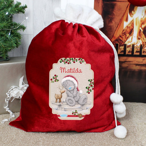 Personalised Me to You Reindeer Luxury Pom Pom Sack | ShaneToddGifts.co.uk