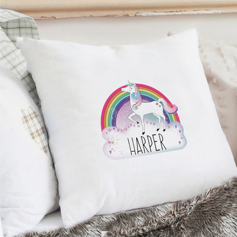 Buy Personalised Unicorn Cream Cushion