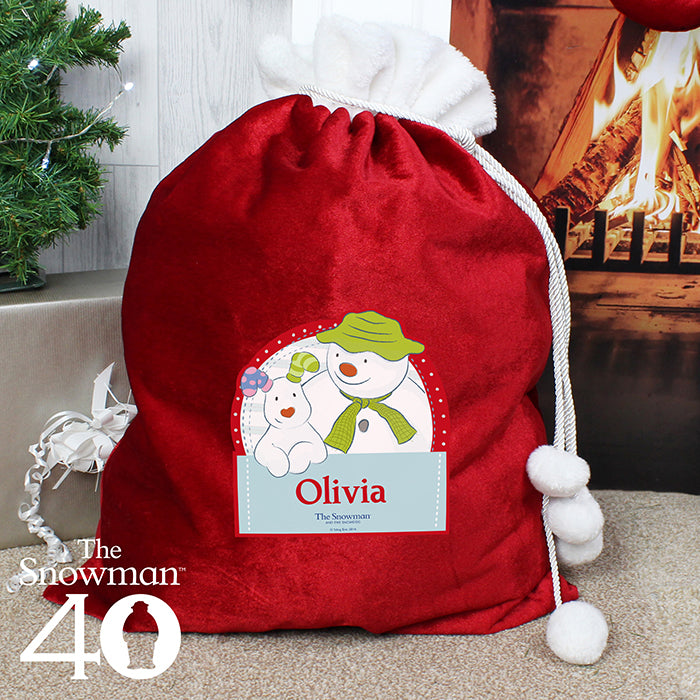 Personalised The Snowman and the Snowdog Luxury Pom Pom Sack, Party Supplies by Low Cost Gifts