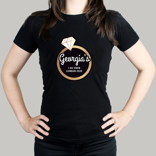 Personalised Gold Bling Ring Hen Party T-Shirt - Black - S,M,L & XL