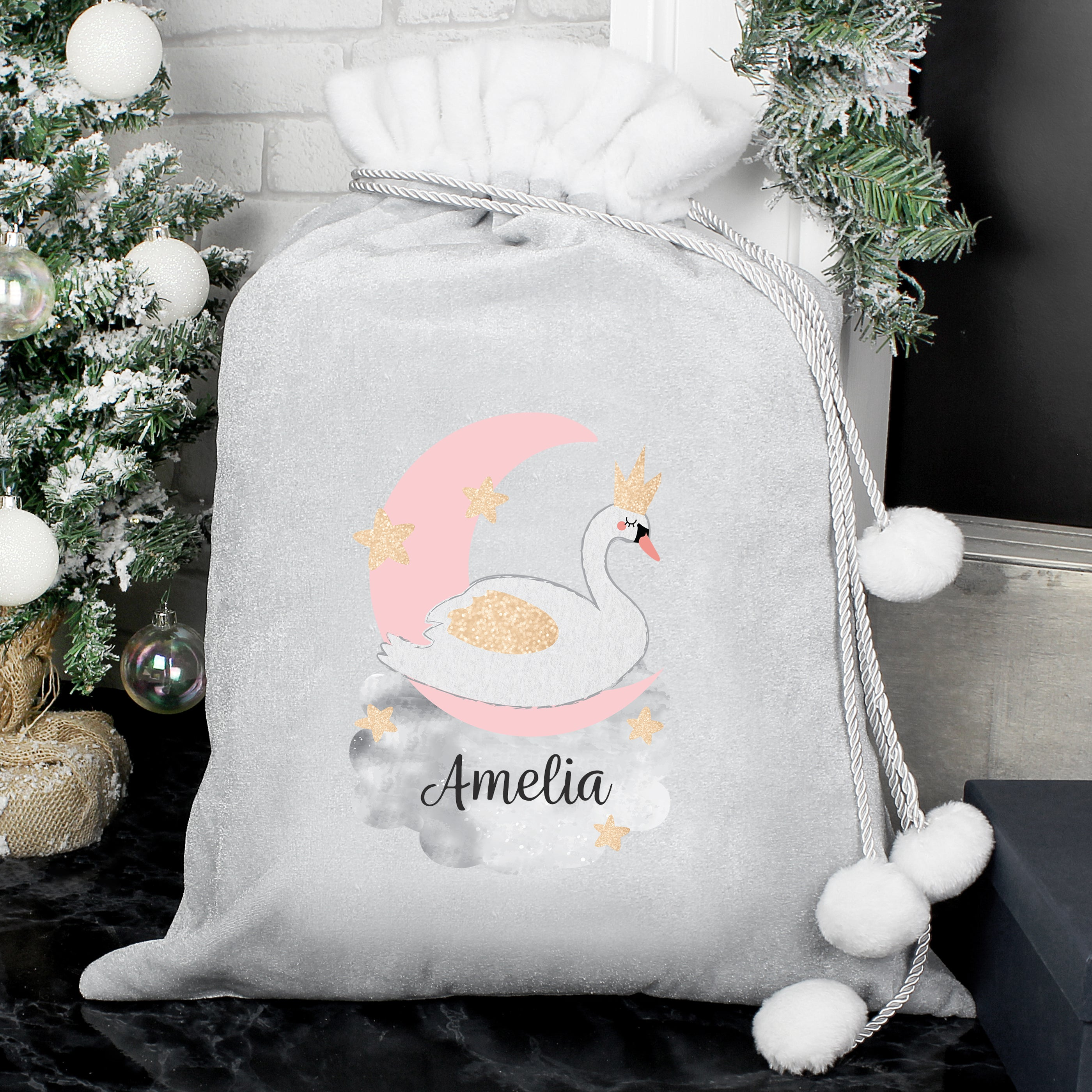 Personalised Swan Lake Luxury Silver Grey Pom Pom Sack, Party Supplies by Low Cost Gifts