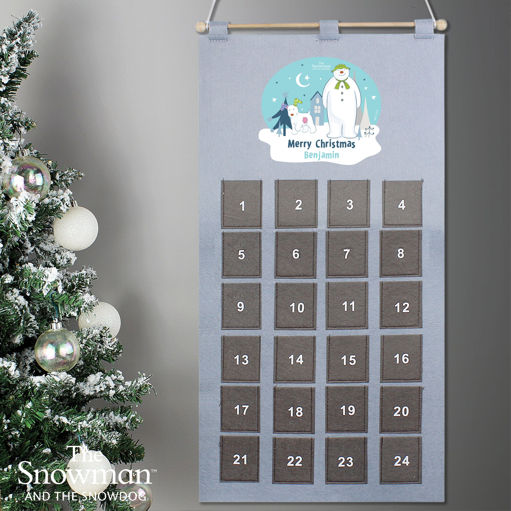 Personalised The Snowman and the Snowdog Advent Calendar In Silver Grey, Office Supplies by Low Cost Gifts