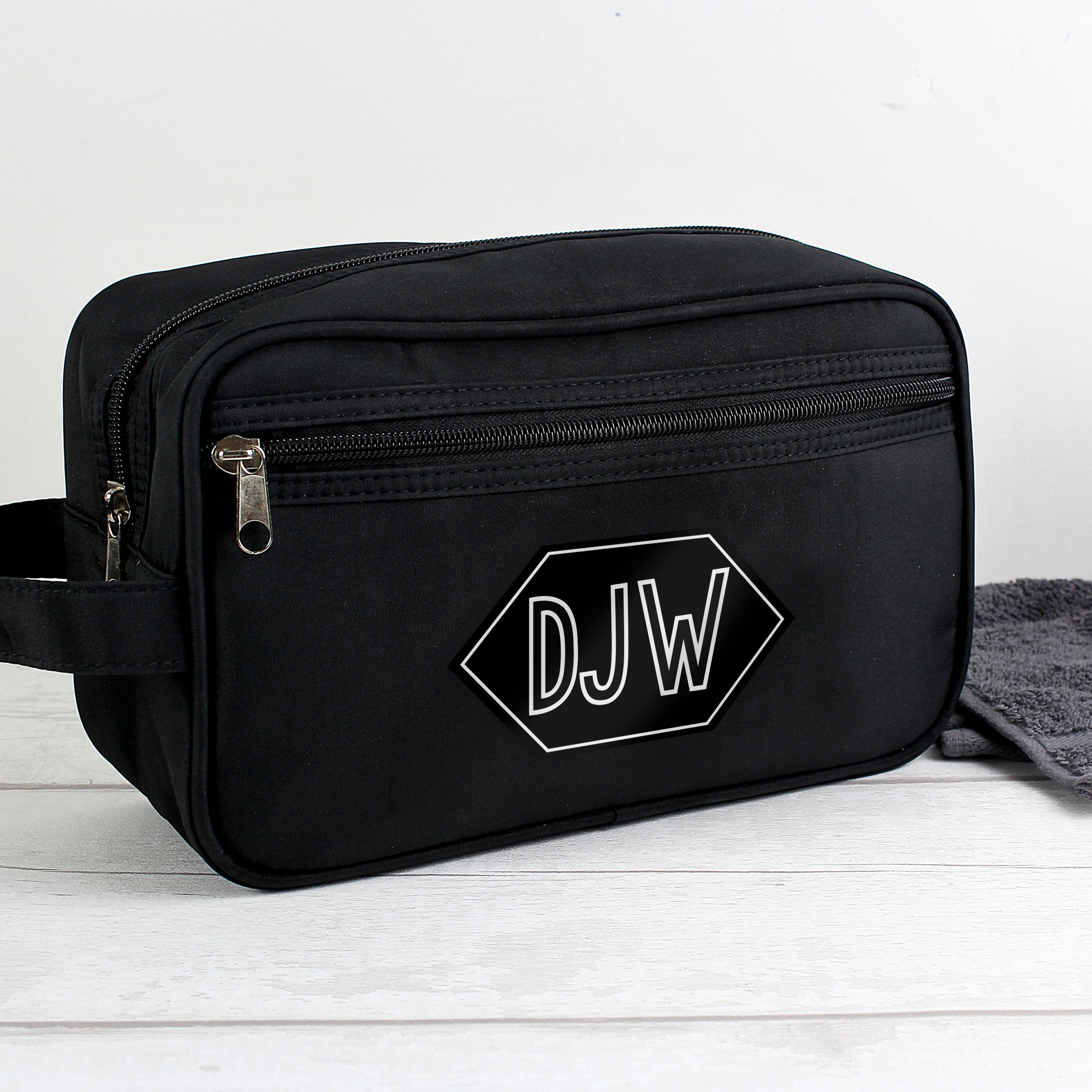 Personalised Initials Black Vanity Bag, Furniture by Low Cost Gifts