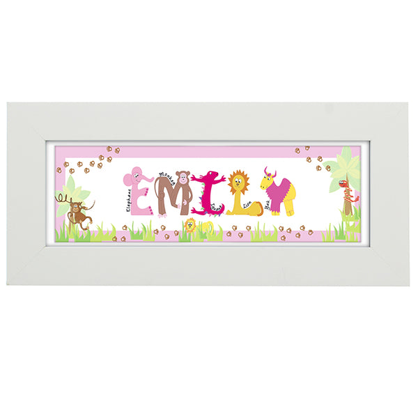 personalised-animal-name-frame-pink