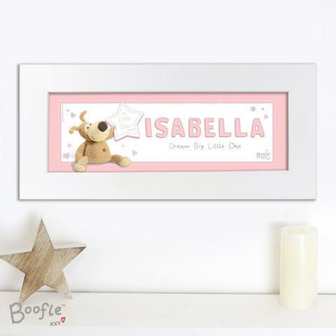 Personalised Boofle It's a Girl Name Frame - Shane Todd Gifts UK