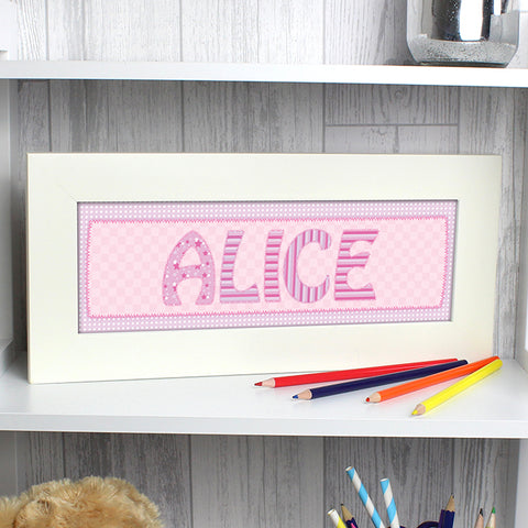 Buy Personalised Pink Stitch Name Frame