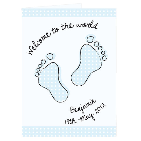 Buy Personalised Blue Foot Print Card