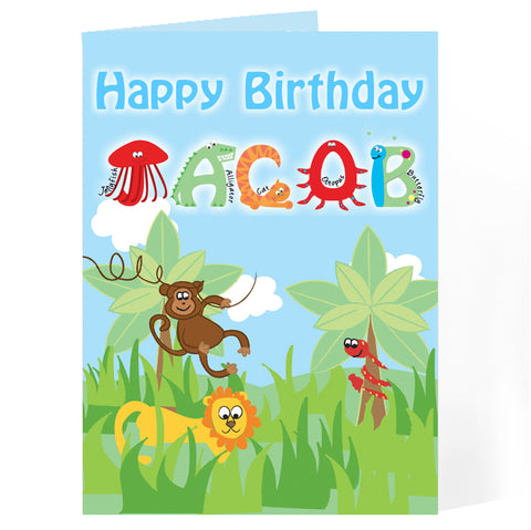 Buy Personalised Animal Alphabet Card
