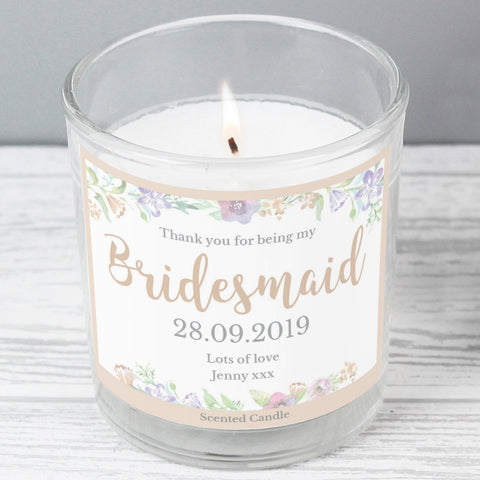 Buy Bridesmaid 'Floral Watercolour Wedding' Scented Jar Candle