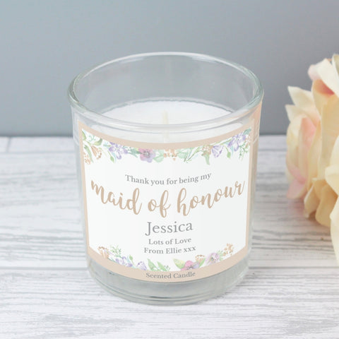 Maid of Honour 'Floral Watercolour Wedding' Scented Jar Candle