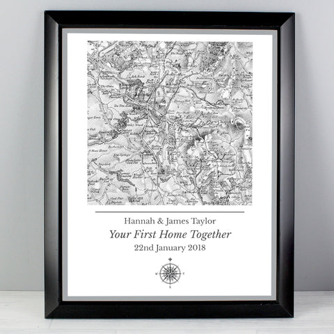 Buy Personalised 1805 - 1874 Old Series Map Compass Black Framed Poster Print