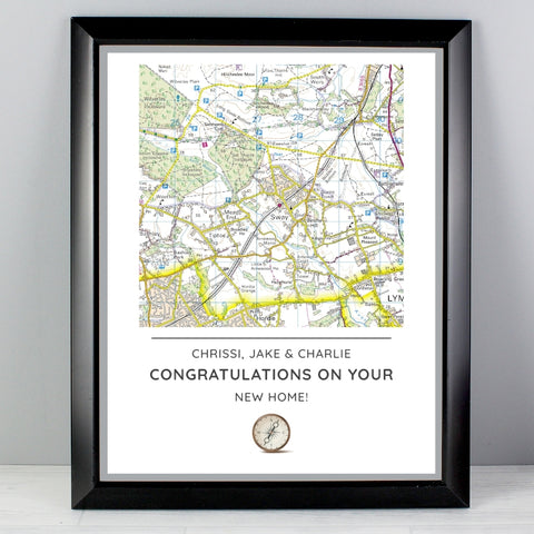 Buy Personalised Present Day Map Compass Black Framed Poster Print