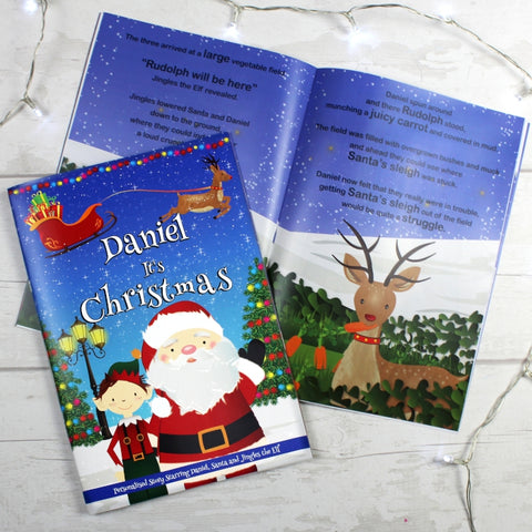 "Buy Personalised Boys ""It's Christmas"" Story Book, Featuring Santa and his Elf Jingles"