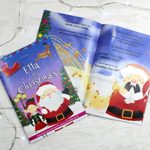 "Buy Personalised Girls ""It's Christmas"" Story Book, Featuring Santa and his Elf Twinkles"