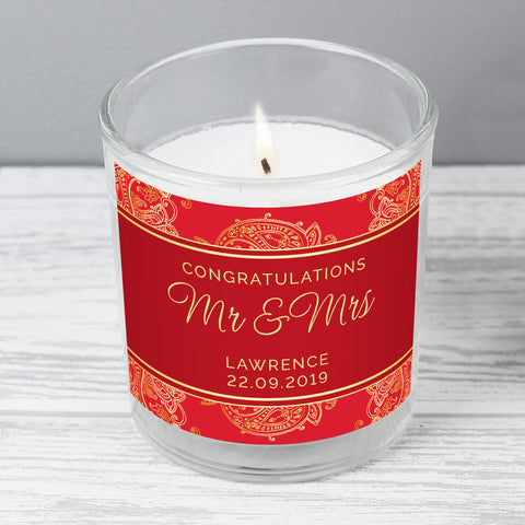 Personalised Paisley Wedding Scented Jar Candle