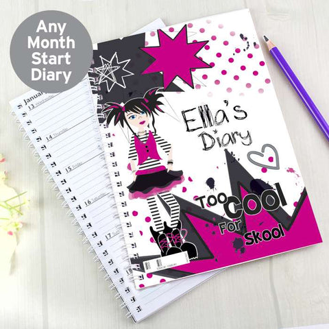 Personalised Too Cool Girl - A5 Diary