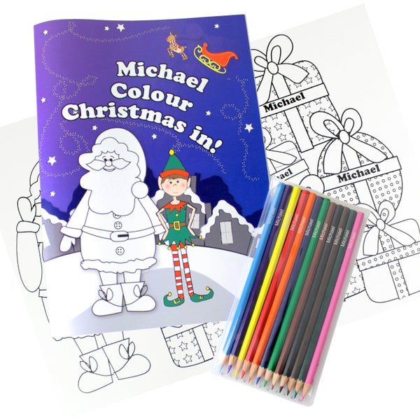 personalised-its-christmas-elf-colouring-book-with-pencil-crayons