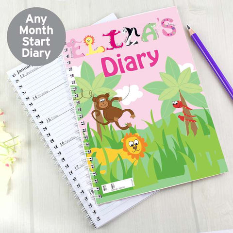 Personalised Girls Animal Alphabet A5 Diary