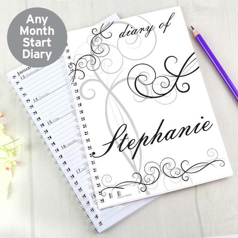 Buy Personalised Black Swirl A5 Diary