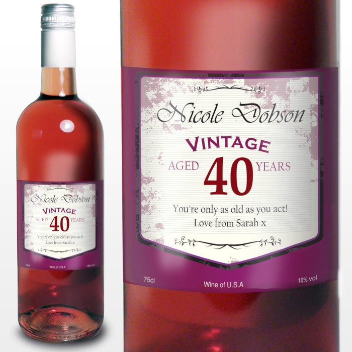 Personalised Rose Wine Vintage Age Label, Beverages by Low Cost Gifts