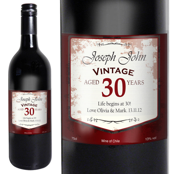 Personalised Red Wine Vintage Age Label, Alcoholic Beverages by Low Cost Gifts