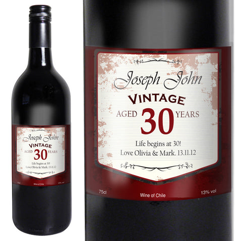 Buy Personalised Red Wine Vintage Age Label