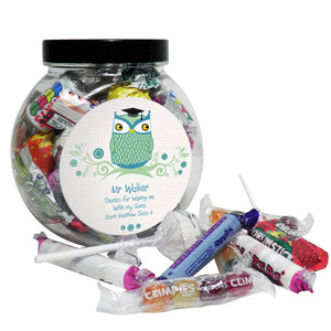 Personalised Mr Teacher Owl Sweet Jar