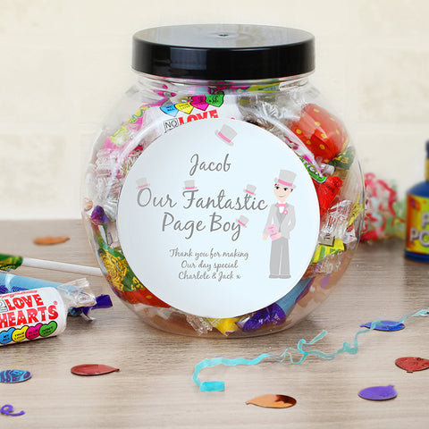 Personalised Fabulous Page Boy Sweet Jar