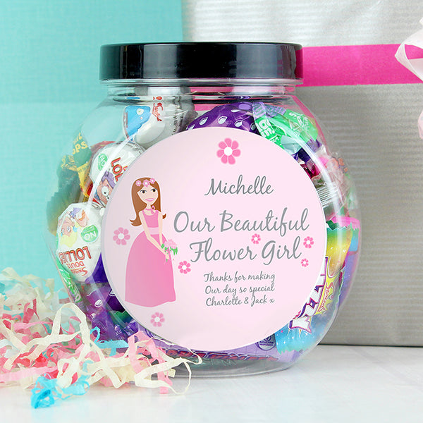 Personalised Fabulous Flowergirl Sweet Jar